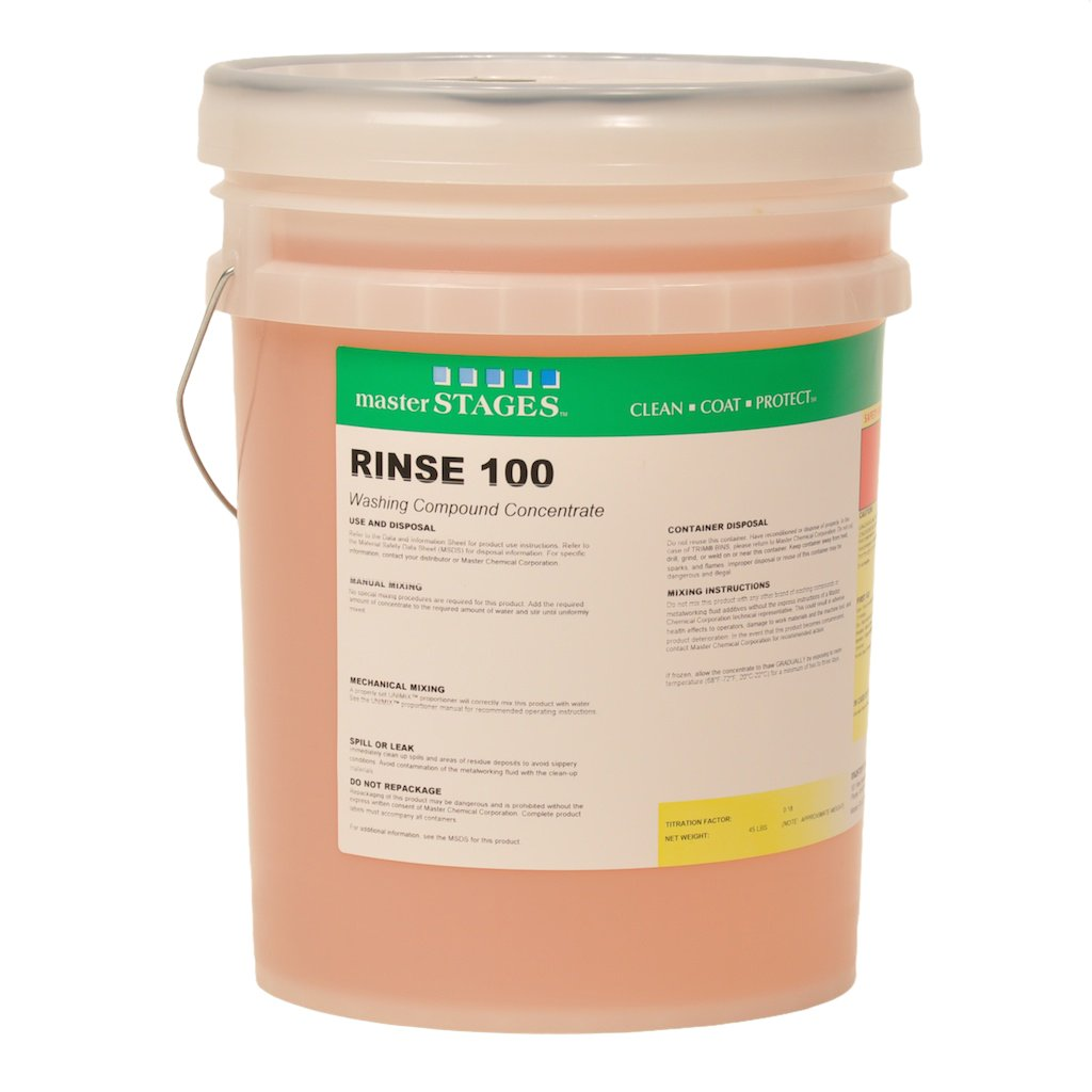 Master STAGES RINSE100/5 Rinse 100 Washing Compound Concentrate, Light Yellow, 5 gal Jug