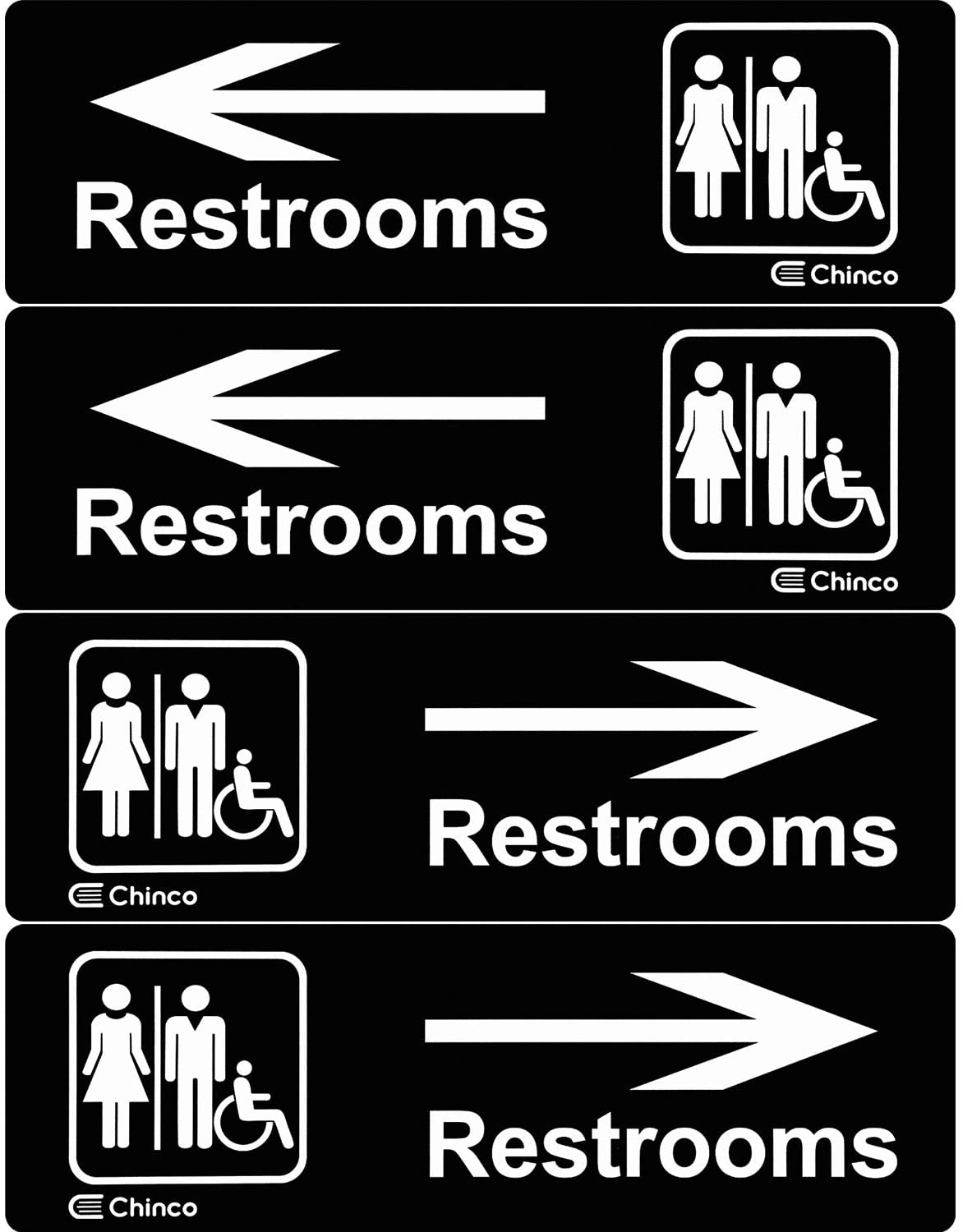 4 Pieces Acrylic Plastic Restrooms Sign Restroom Directional Sign Men Women Wheelchair Restroom Sign with Arrow for Office Restaurants Hotels Supermarket Supplies, 9 by 3 Inch (Left and Right Arrow)