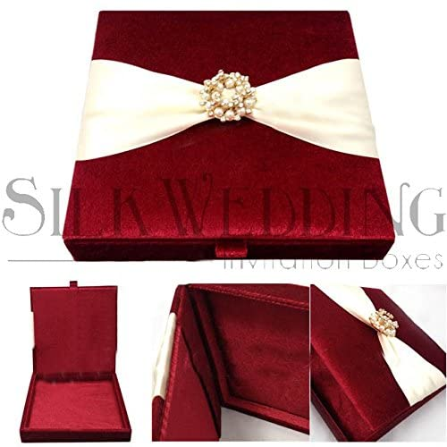 Enticing Red Velvet Wedding Invitation Box Adorned with Ribbon and Glitzy Clasp