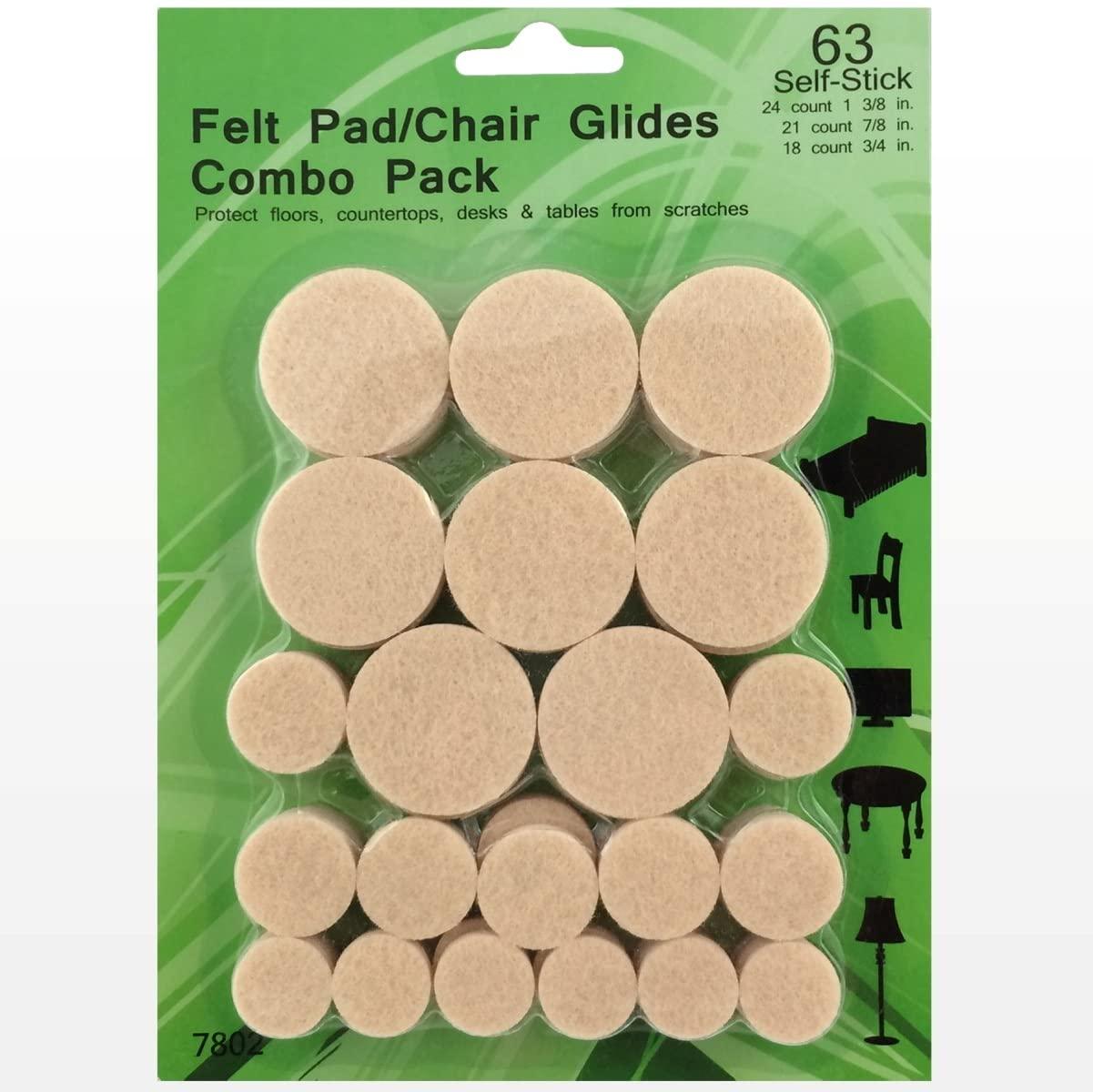 Best Felt Pads - 63 Pack Chair Felt Pads - Self Stick Furniture Glides - Chair Floor Protectors - Floor Scratch Protection - Felt Pads for Hardwood Floors/Laminate/Linoleum/Tile Sliders - Guarantee.