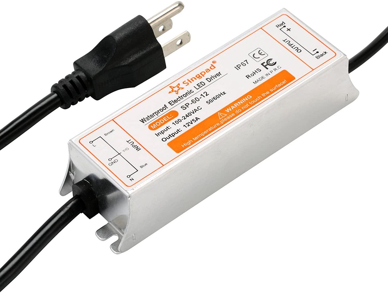 SingPad 60 Watt Waterproof LED Power Supply Driver Transformer 120 to 12 Volt Dc Output,AC/DC 12V Switching Power Supply Low Voltage Lighting LED Driver Transformer