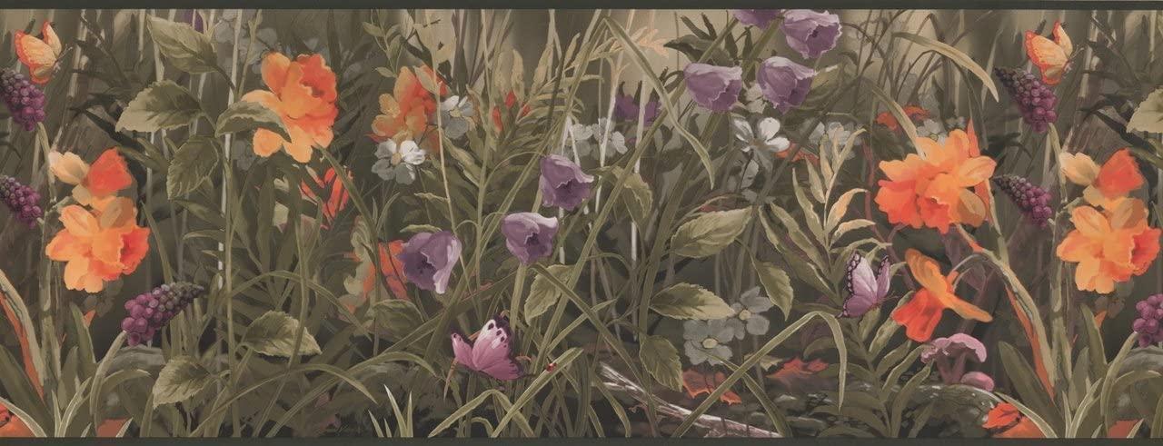Wild Meadow Purple Orange WL5614B Wallpaper Border