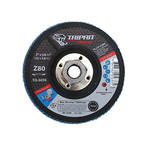 Taipan Abrasives TO-5066 Original Zirconia Flap Disc, Depressed, 80 Grit, 4-1/2
