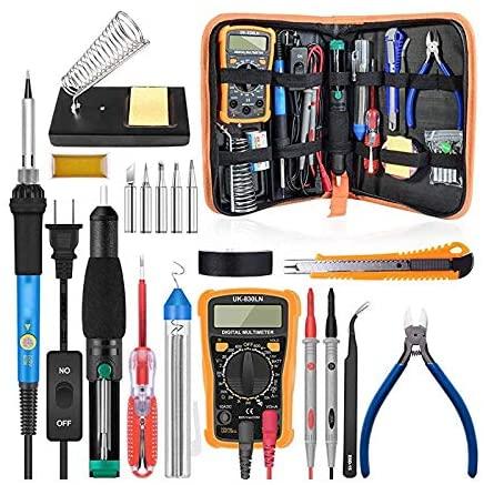 Soldering Soldering Iron Kit 60W Adjustable Temperature Welding Tool Digital Multimeter Soldering Iron Tips Desoldering Pump Wire Stripper - (Plug Type: EU)