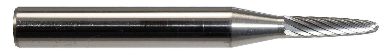 Finecut Tool FT9008 Radius Tree Singlecut Carbide Bur 1/8 Diameter, 1/2 Length of Cut .2362 (6mm) Shank, 2 Overall Length