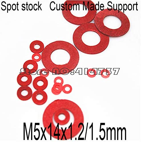 Ochoos 1000pcs/lot M5141.2/1.5mm M5 Red Insulation Washer Gasket Red Vulcanized Fiber Gasket