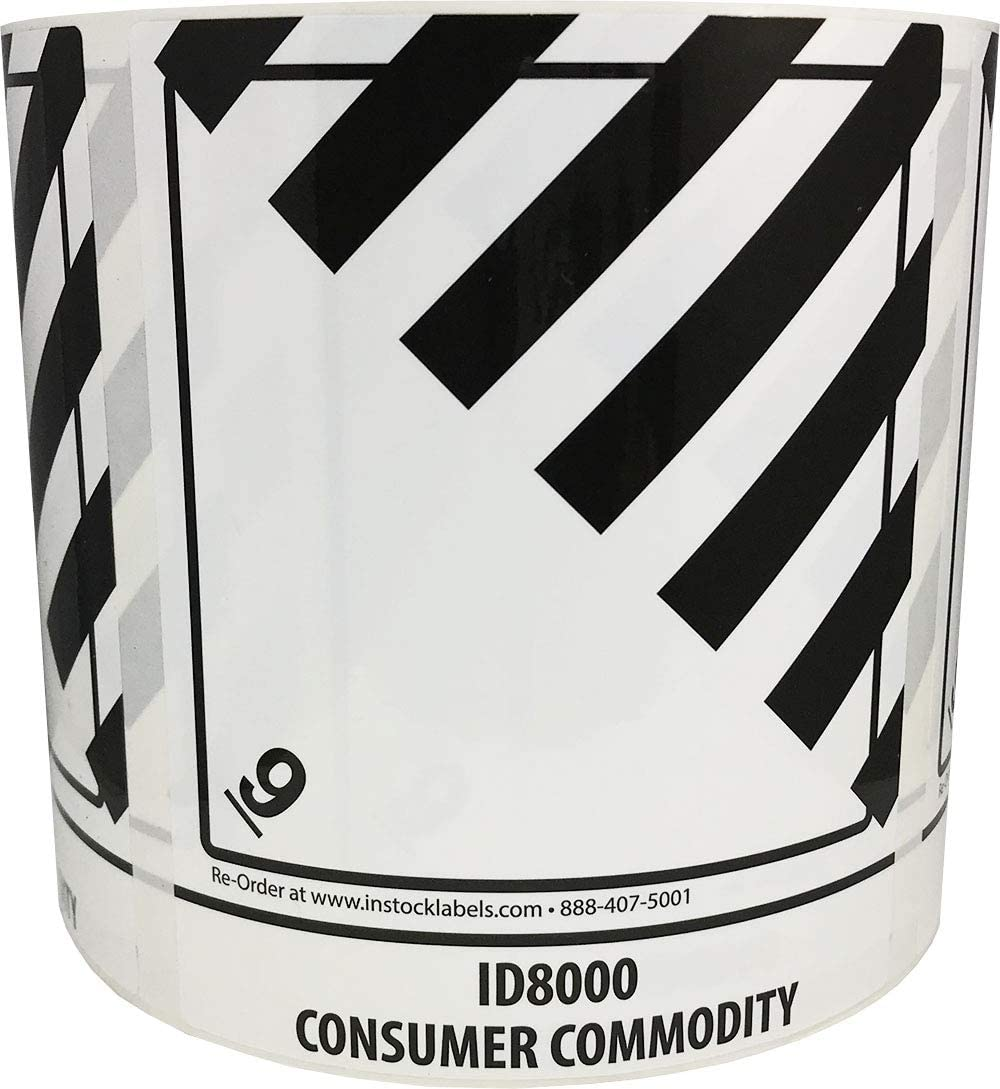 ID8000 Consumer Commodity, Hazard 9 Pre-Printed 4 x 4.75 Inch Labels 500 Total Stickers on a Roll