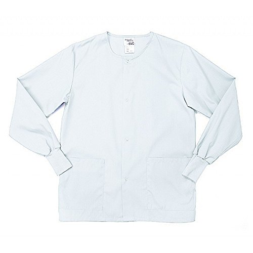Pinnacle Textile SW68M-L-WH 4.25 oz. 65/35 Polyester/Cotton Male Warm Up Jacket, Large, White