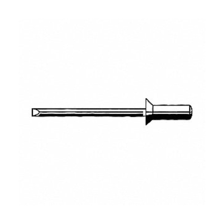 AK68H-B-CT, CLSD End AK68H Blind Rivet; 3/16 Inch (0.187 Inch), (0.187-0.500 Inch Inch GR), 120° CSK HD, Alum/Steel,