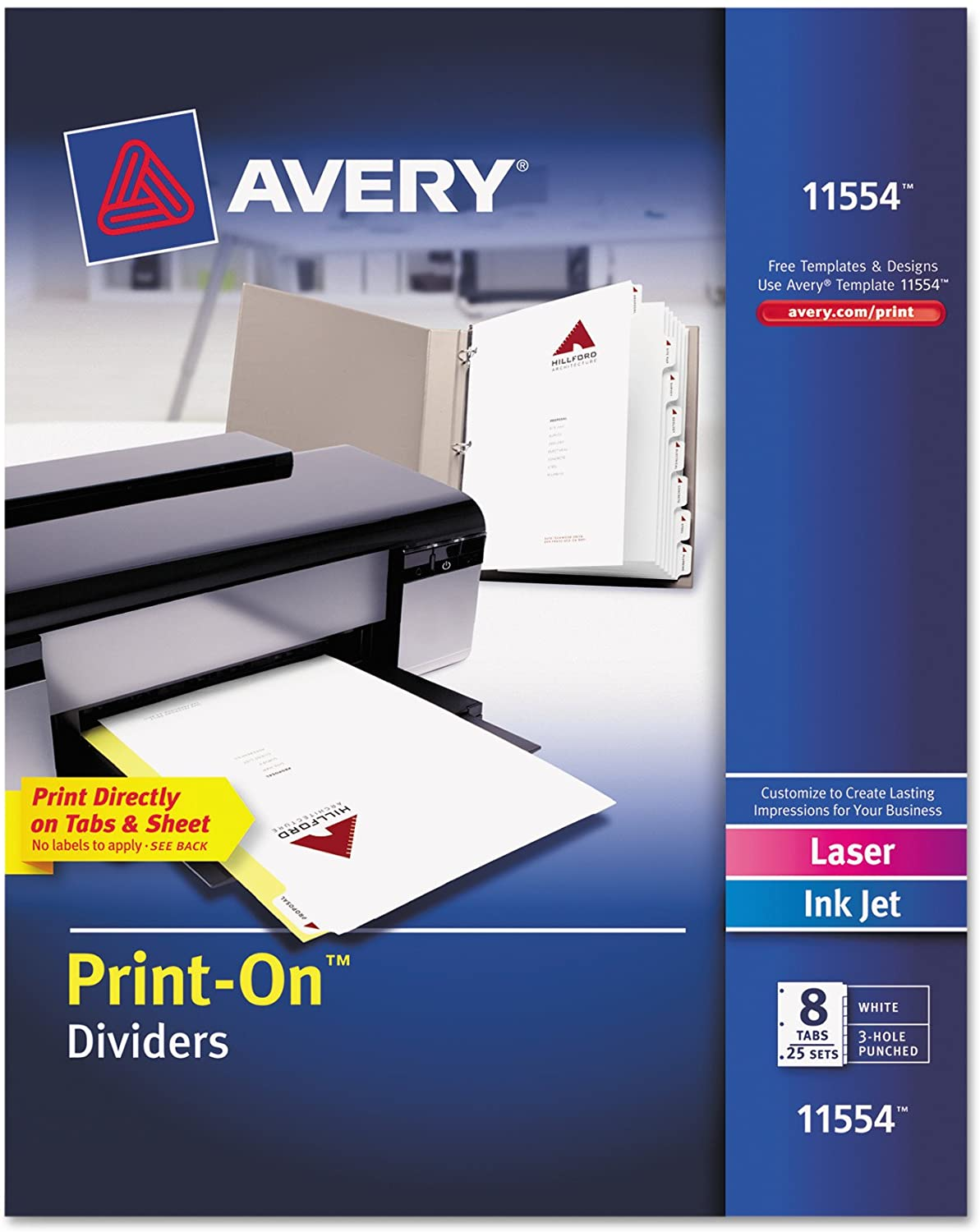 Avery 8-Tab Print-On Binder Dividers, White Tabs, 25 Sets (11554)
