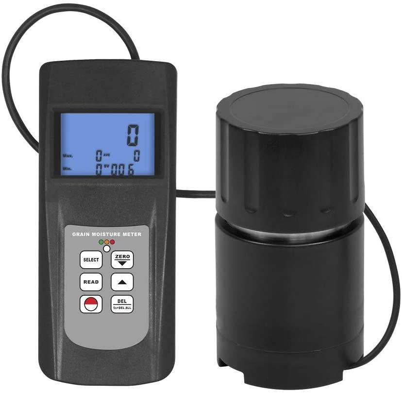 QWERTOUY 0-50% Digital Grain Moisture Meter Tester Handheld Checkers Cup Sensor for 22 Species Case LED Indicator Seed Rice Coffee SOYA