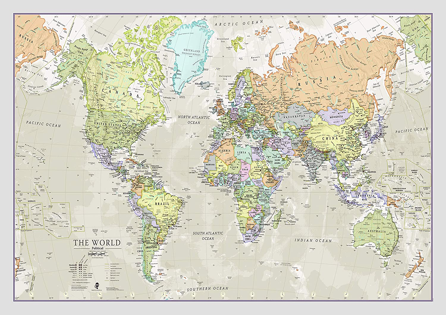 World Map Classic Style - Front Sheet Lamination - Cartographic Detail (A1 23 (h) x 33 (w) inches)
