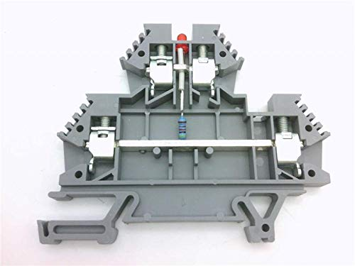 DINNECTORS DN-D10LED1-A-EACH Double-Level Terminal Block, with 24VDC LED Connected Between Levels, Gray, 24-10 AWG