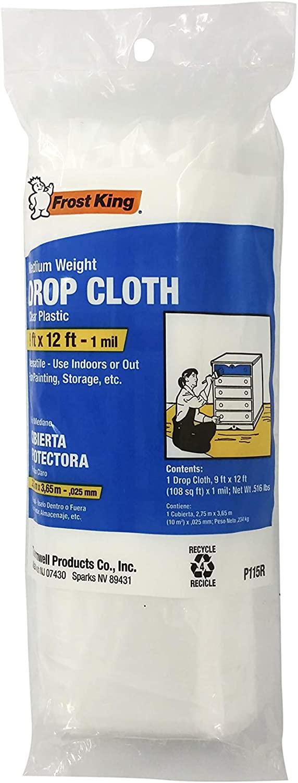 Frost King P115R Clear Polyethylene Drop Cloths, 9' x 12' x 1Mil
