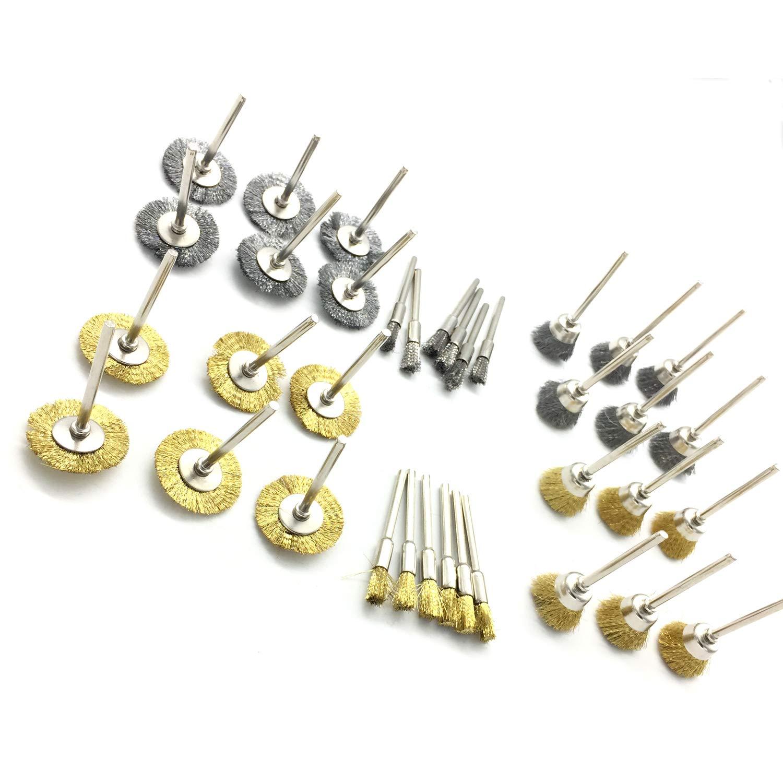 PANOVOS 36Pcs Brass Steel Wire Brush Polishing Wheels Full kit for Rotary Tools Power Rotary Tool Buffing Wheels