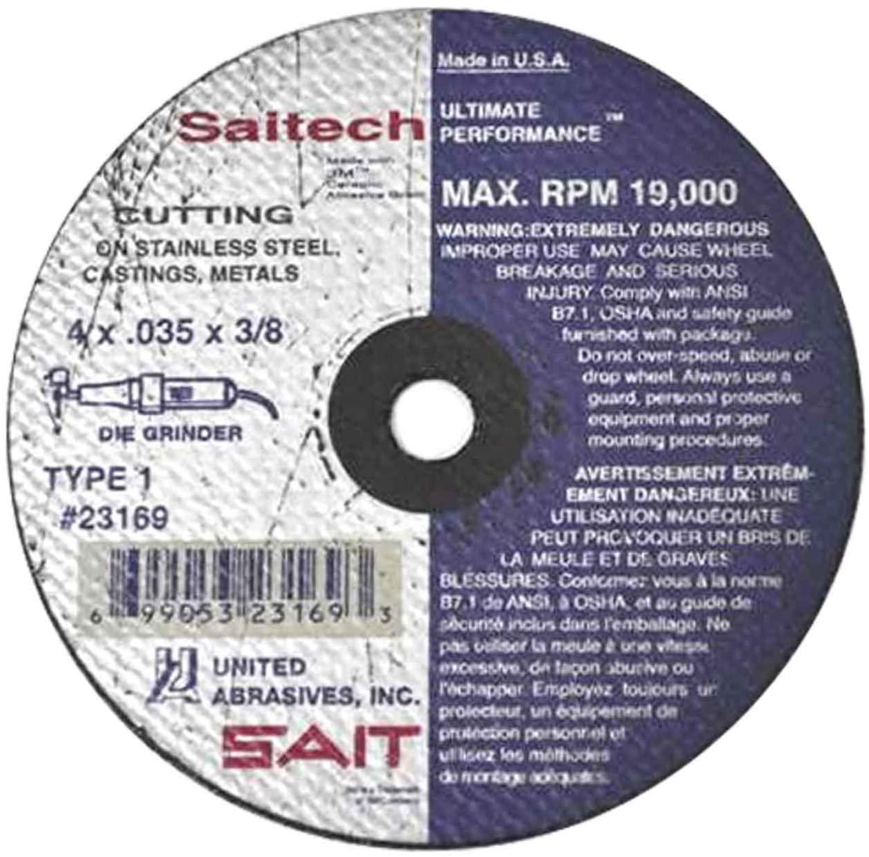 United Abrasives SAIT 23169 4x.035x3/8 Saitech Ultimate Performance Premium Cut-off Wheels, 100 pack
