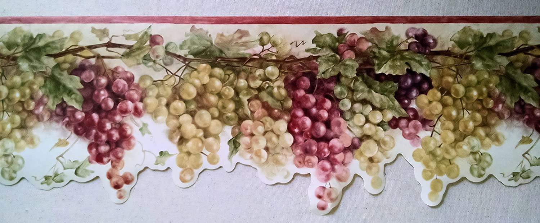 Wallpaper Border Tuscan Grapevine Rust Red Purple & Green Grapes on Cream