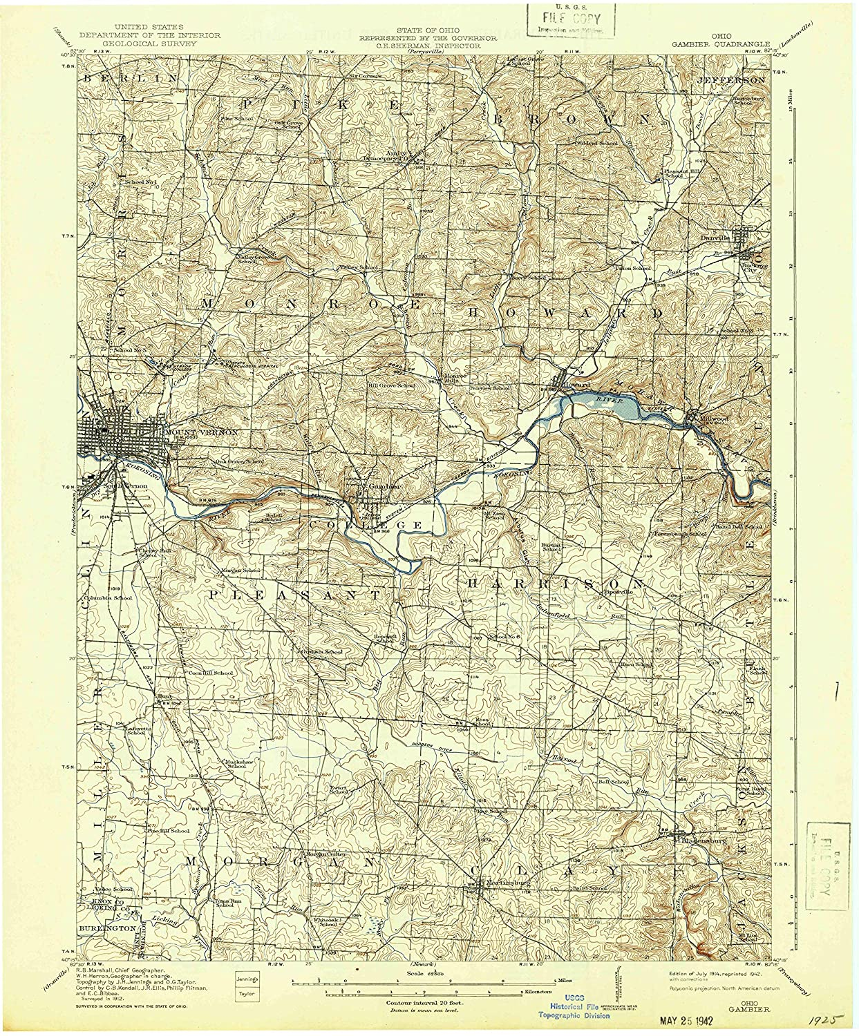Map Print - Gambier, Ohio (1914), 1:62500 Scale - 24