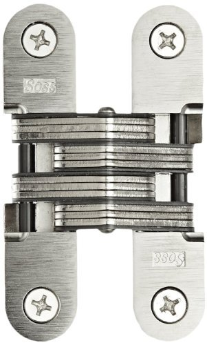 SOSS Mortise Mount Invisible Hinges with 4 Holes, Zinc, Satin Chrome Finish, 2-3/8