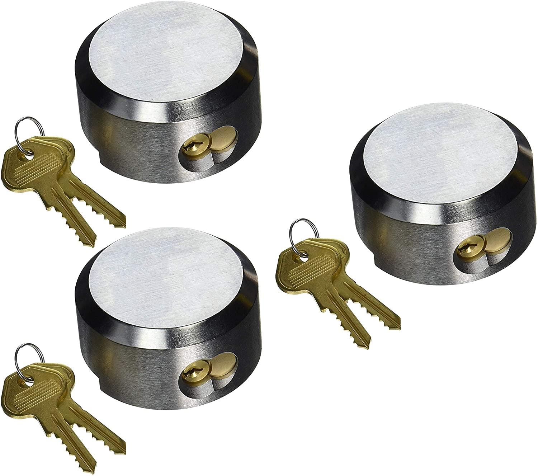 Mardili Lock Hidden Shackle Trailer Puck Padlocks Rekeyable Keyed Alike, Soild Steel, Pack of 3
