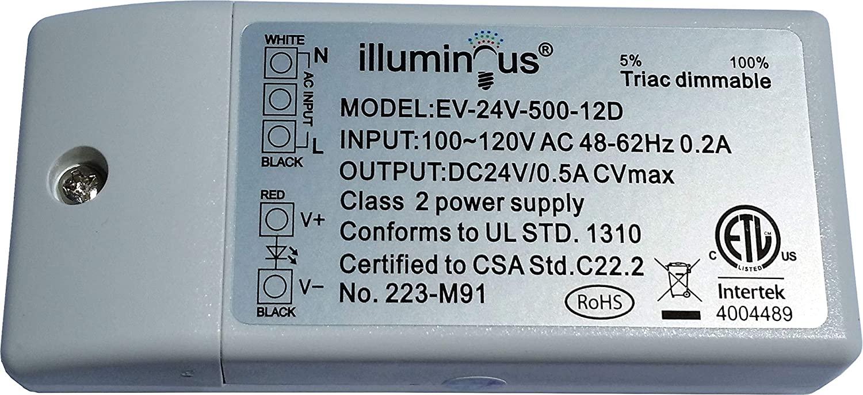 24V 12W Dimmable CV DC LED Driver Transformer ETL (UL) Approved