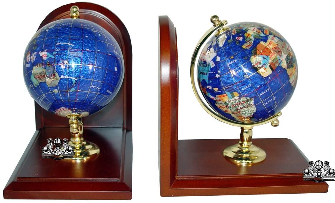 Unique Art 7-Inch Tall Pair of Bahama Blue Swirl Pearl Ocean Gemstone World Globe Bookends