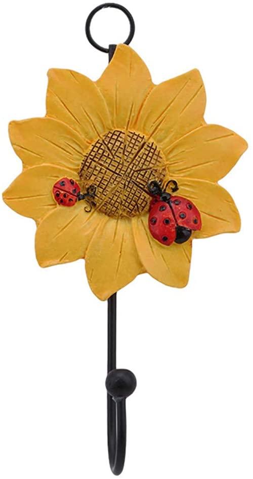 Creative Cartoon Household Ladybug Flower Resin Keys Coat Hat Wall Hook Home Decoration - Yellow