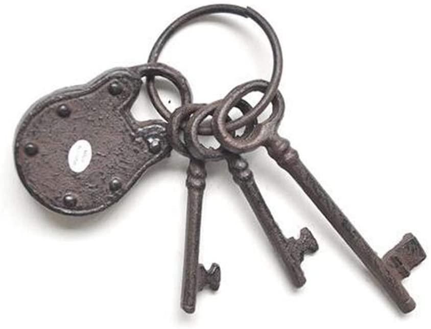 Pirate Treasure Chest Keys Set,Skeleton Key Ring Antique Style, Rustic Cast Iron Skeleton Key Wall Decor, Costume Prop (3 Keys with Iron Lock)