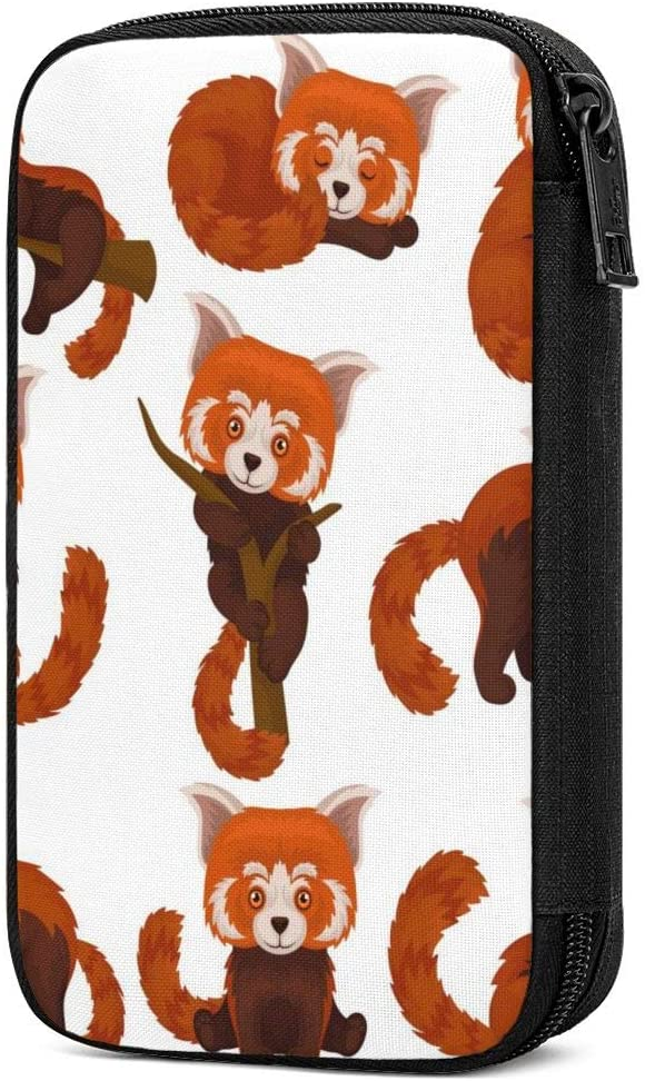 Electronics Organizer Pretty Cat Chinesered Panda Travel Cable Accessories Cord Storage Bag Case Box to USB Wire Cellphone Mini Tablet for Office Home Traveling Smart & Safe Storage