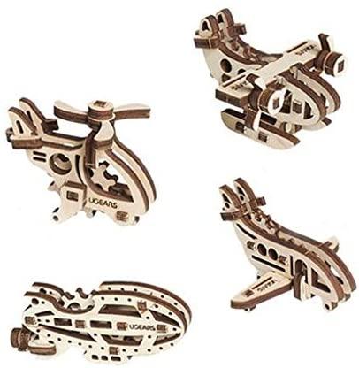 S.T.E.A.M. Line Toys UGears Models 3-D Wooden Puzzle - Mechanical U-Fidget-Tribiks: Aircrafts Set of 4