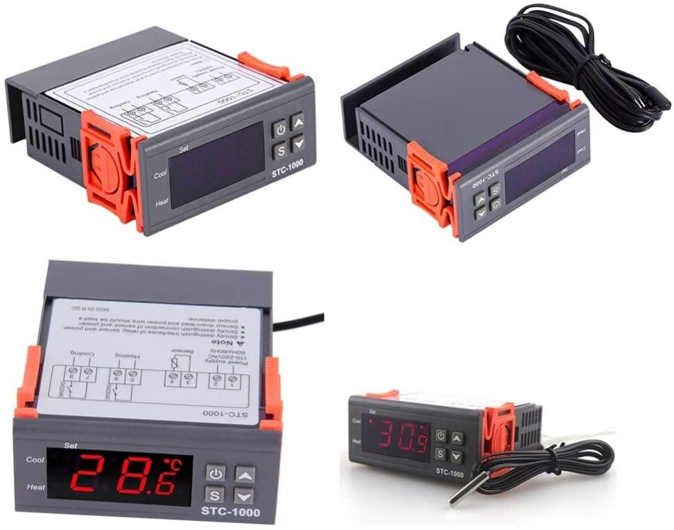 Calvas 12V/24V/110V/220V STC-1000 Digital Temperature Controller Thermostat w/NTC K - (Color: 110V-220V)