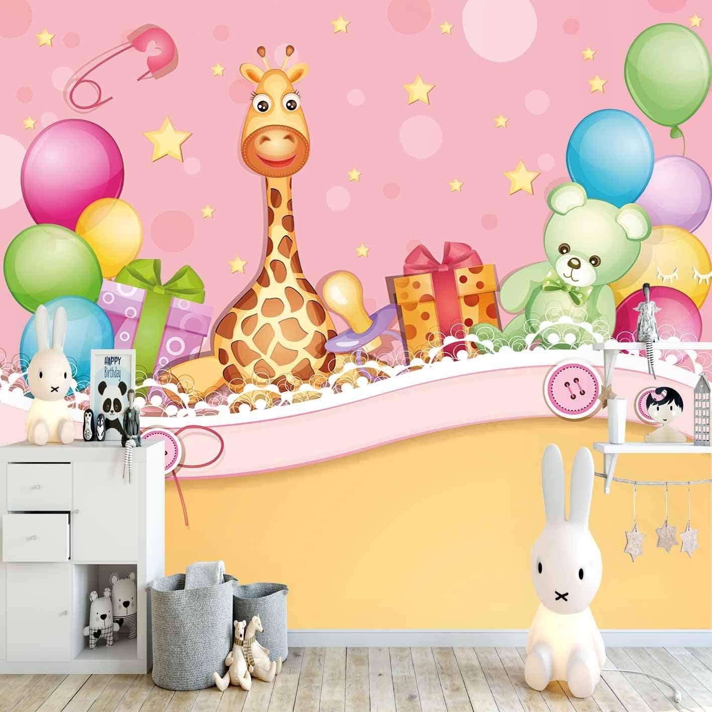 Else Yellow Pink Green Giraffe Ballon Party Bear 3D Print Cartoon Cleanable Fabric Mural Kids Children Room Background Wallpaper
