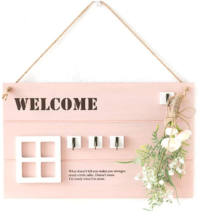 AWYGHJ Wall Key Hanger, Wall Mount Wooden Home Sign Key Holder with 4 Hooks and Artificial Flower, Car Keychain Ring Hanger, for Decorative Garage, Living Room, Closet