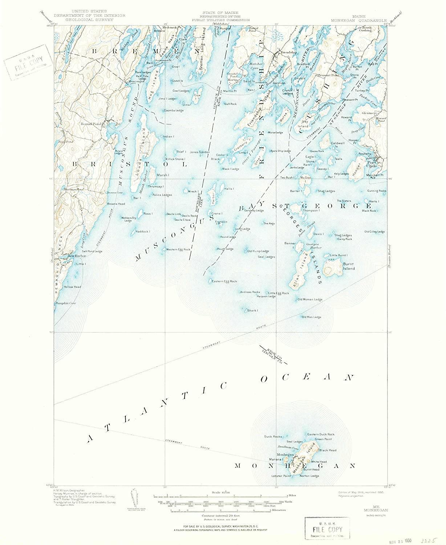 Map Print - Monhegan, Maine (1906), 1:62500 Scale - 24