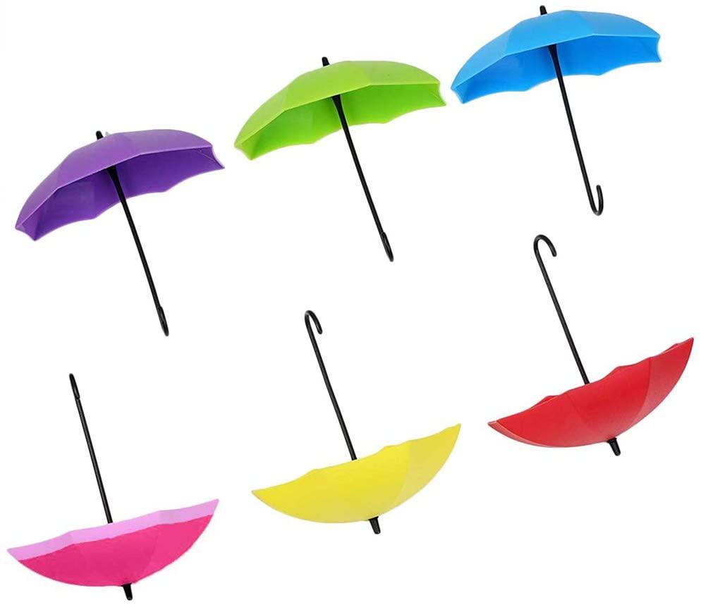 6 Pcs Key Hook Self Adhesive Key Holder Umbrella-Shape Wall Hook Wall Mount Hook for Kitchen and Bathroom Assorted Color