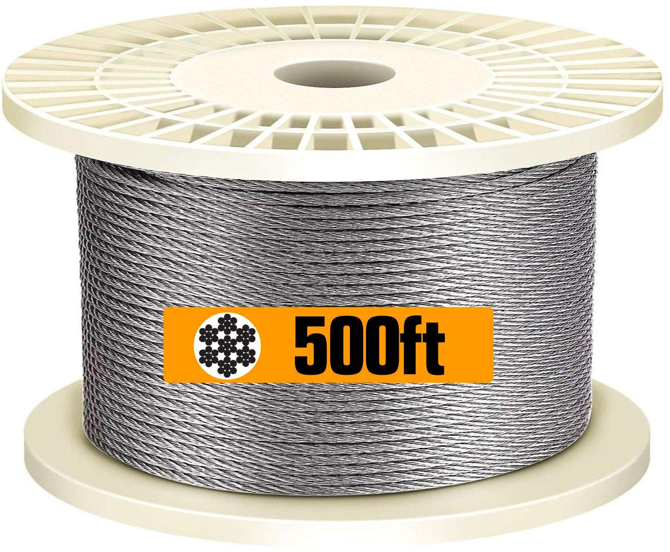 T316-Stainless Steel 1/8 Aircraft Wire Rope for Cable Railing Kit,Marine Grade(500ft)