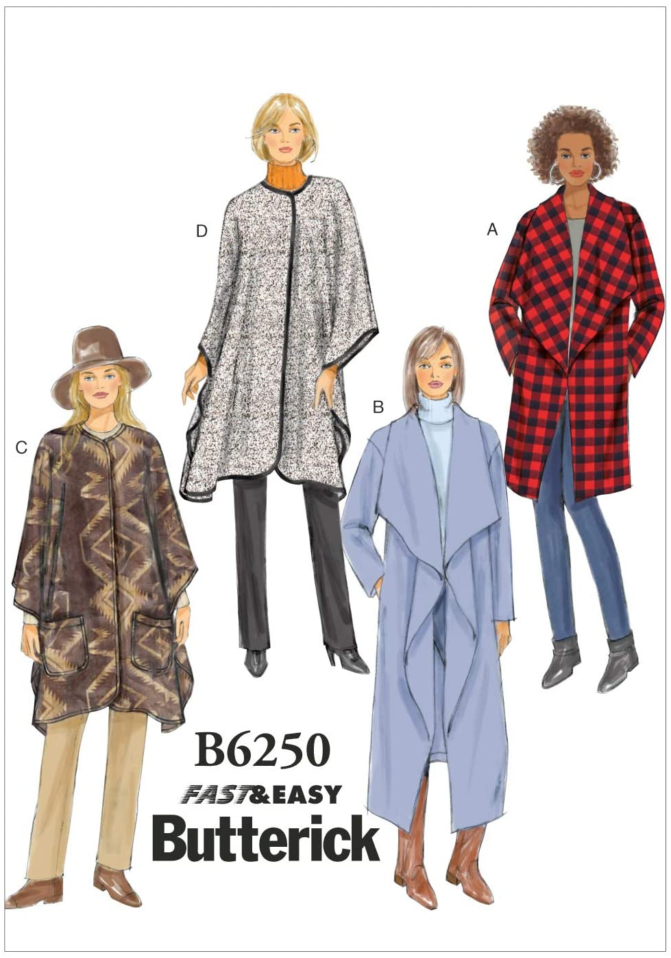 BUTTERICK PATTERNS B62500Y0 Misses Jacket, Coat and Wrap, Y (XSM-SML-MED)