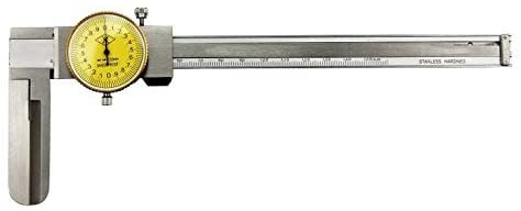 MeterTo Precision Stainless Steel Dial Caliper Long Claw Inner Diameter Jaw 60mm Range 15-150mm Resolution 0.02mm