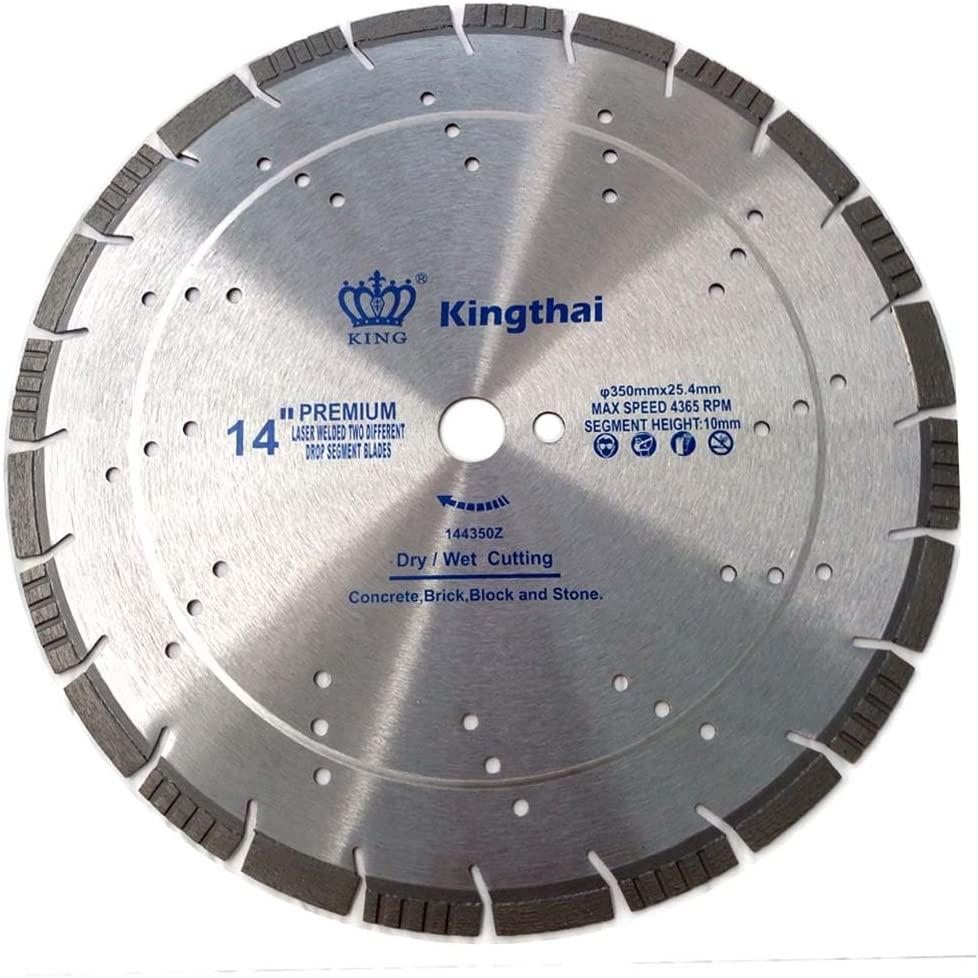 Kingthai 14 Inch Multi-Purpose Laser Welded Concrete Asphalt Drop Segmented Turbo Diamond Blade for Building Materials