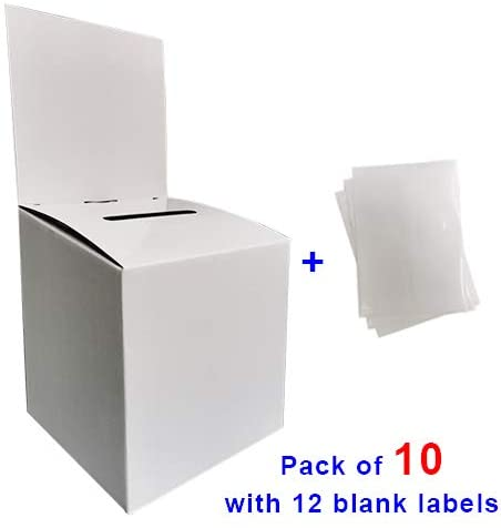 Medium Cardboard Ballot Box in 6x6x6 inches with Slot for Suggestions Donations Charity Raffles, with Removable Header for Tabletop Use, Includes 12 Blank Labels, White Glossy(Pack of 10)