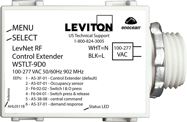Leviton WSTLT-9D0 LevNet RF 902 MHz Control Transmitter, 100-277VAC, See Image