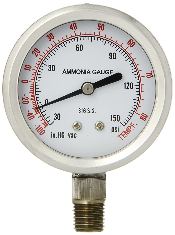 """PIC Gauge 401DFW-404CF 4"""" Dial, 30/0/150 psi Range, 1/4"""