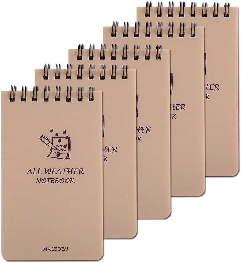 All Weather Spiral Notebooks, MALEDEN Waterproof Steno Notepad Memo Scratch Pads for Outdoor Activities Recording and Tactical Pocket (5PCS)