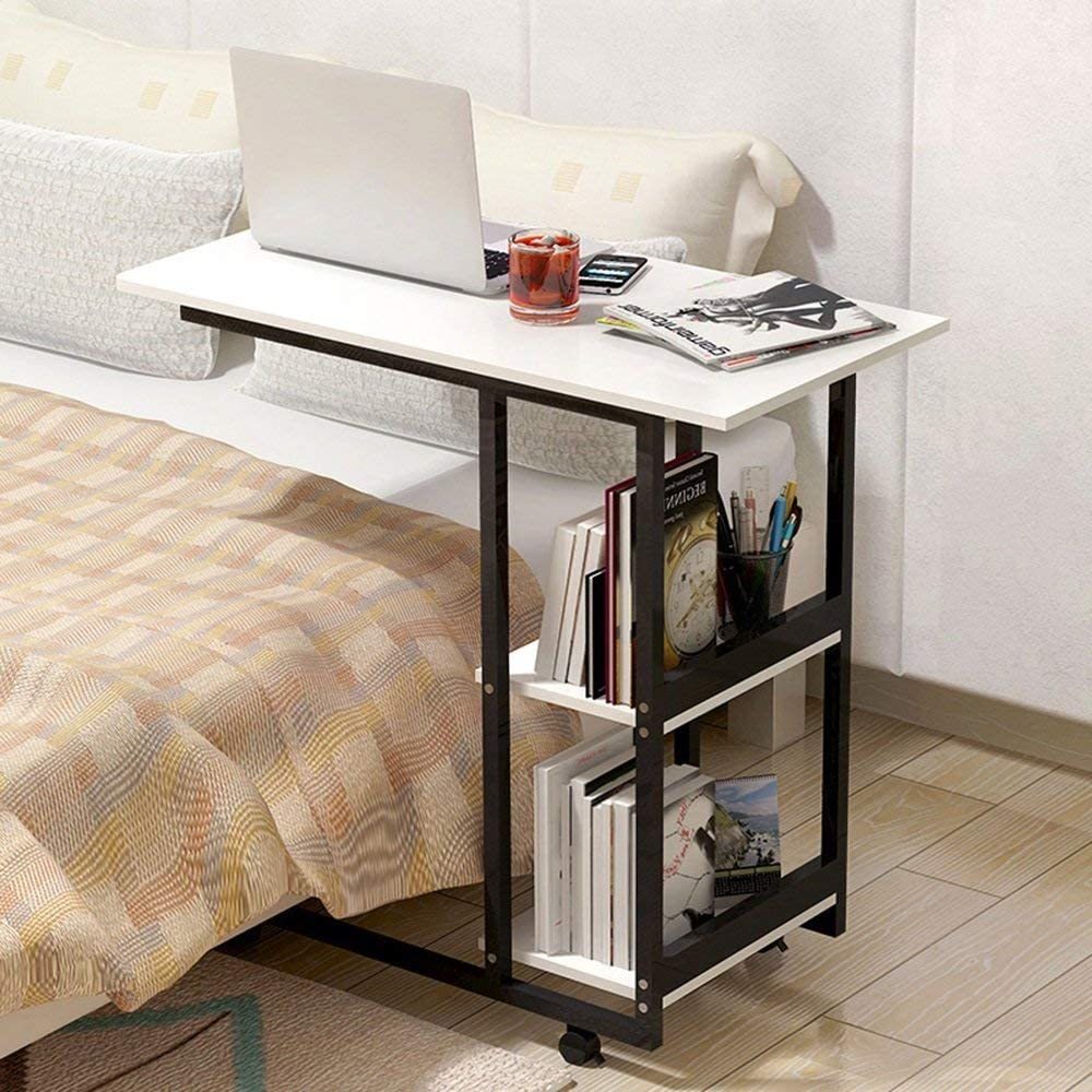 CSS Table,Folding Table Mobile Computer Desk Simple and Modern Mini Tea Table MDF + Metal Sofa Cabinet Desk Save Space Dormitory Student Easy Lazy Bed Simple Home,C