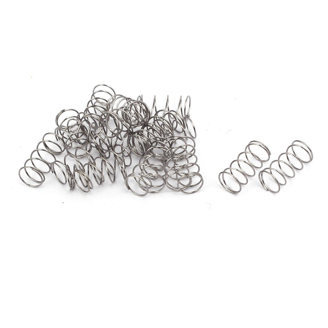 uxcell 0.3mmx5mmx10mm 304 Stainless Steel Compression Springs Silver Tone 20pcs