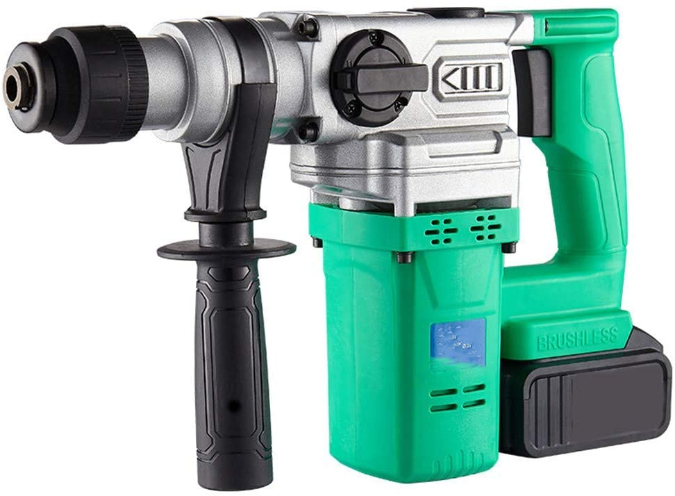 Two Functions Hammer Dril, Hammer and Pick Dual-Purpose Lithium Battery Rechargeable Brushless Electric Hammer Multifunctional Portable Impact Drill,25800H,1 Battery LMMS