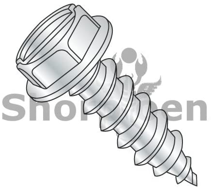 8-18X3 Slotted Indented Hex Washer Self Tapping Screw Type AB Fully Threaded Zinc Bake - Box Quantity 1000 by Shorpioen BC-0848ABSW