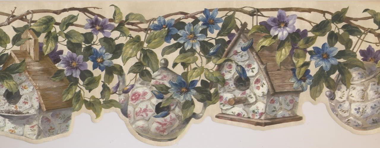 Porcelain Birdhouse Flowers Maroon Beige FFM10005B Wallpaper Border