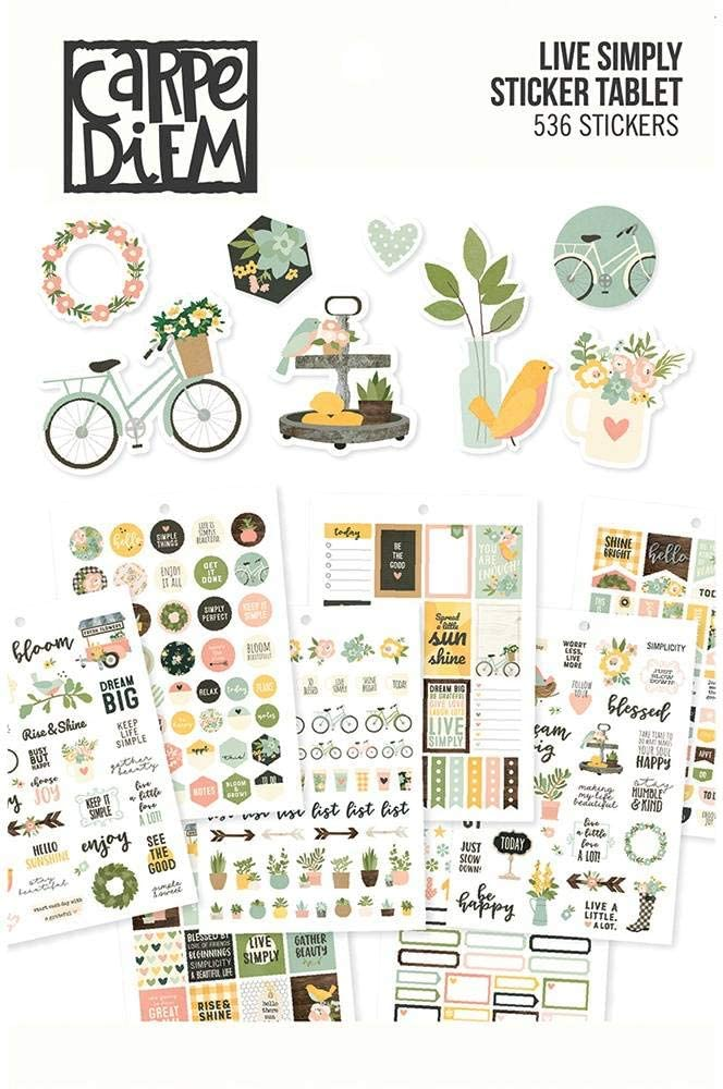 Carpe Diem A5 Planner Sticker Tablet-live Simply, 536/pkg
