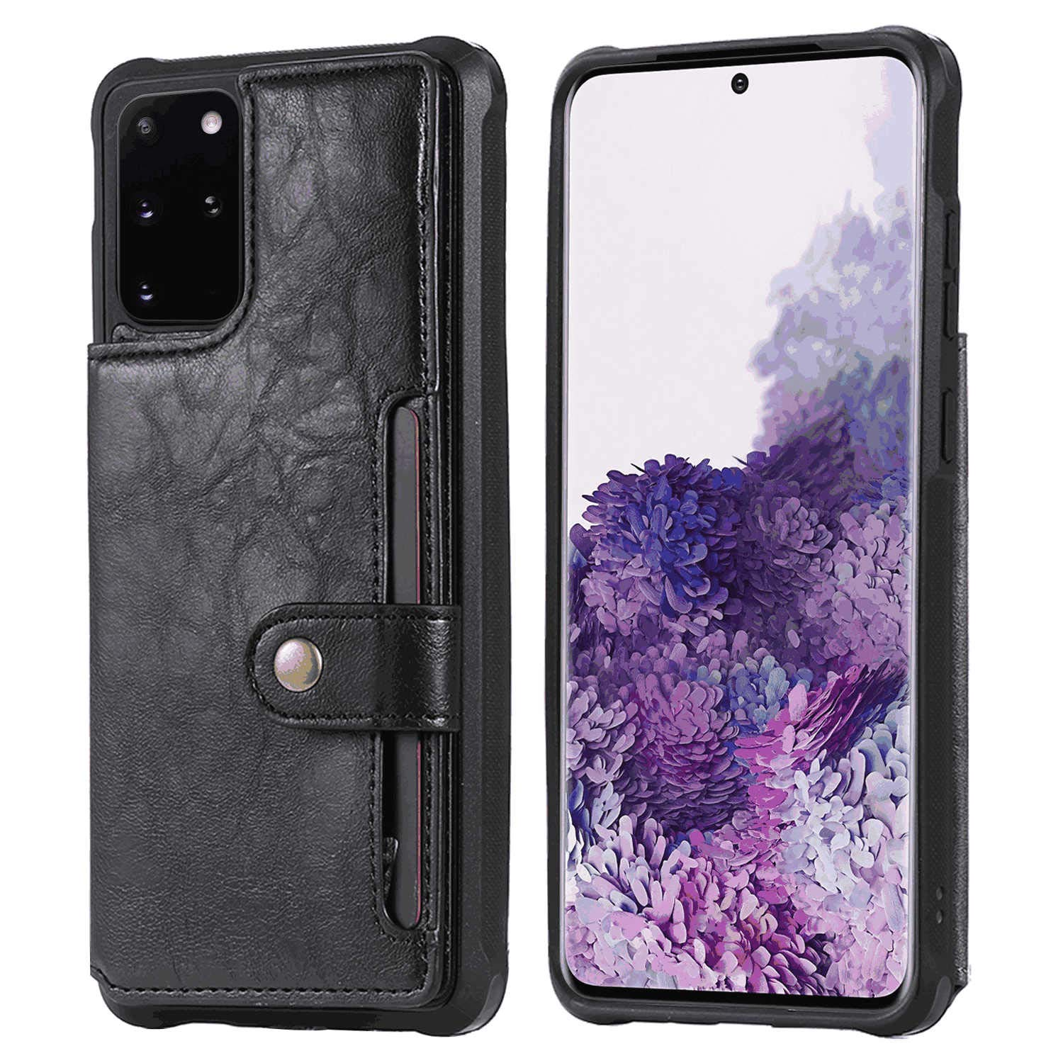 Leather Cover Compatible with iPhone Xs Max, Black Wallet Case for iPhone Xs Max
